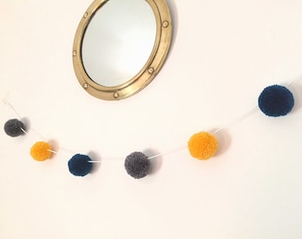 Pom pom garland with 6 small wool pom poms - made to order bunting