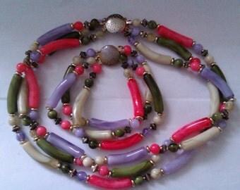 vintage glass bead necklace & bracelet