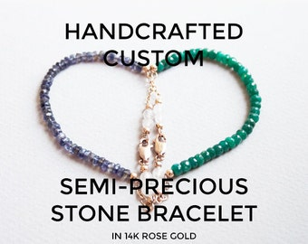 Custom Gemstone Bracelet w/ 14K Rose Gold, Delicate Personalized Semi Precious Stone Beaded Jewelry, Minimal Healing Crystal Bracelet