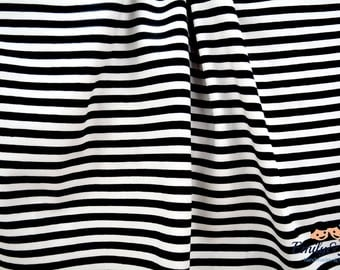 """Jersey """"stripes black and white"""" fabric"""