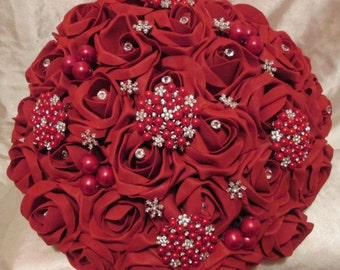 Wedding Flowers Red Roses Wedding Bouquet Brides Red Royal Rose Brooch Bouquet