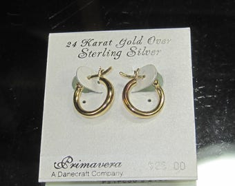 X-20 Vintage Earrings 24 k gold over sterling silver