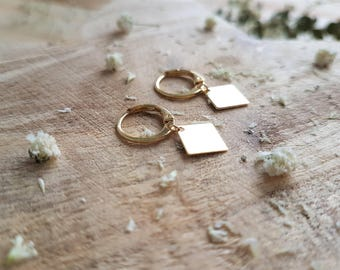 Goldfilled hoop earrings with diamond / geometric earrings / earrings hoops / minimalist earrings / minimalist jewelry /