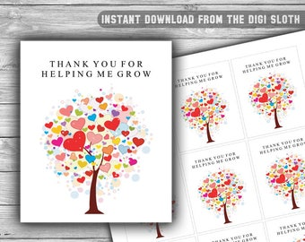 Thank You For Helping Me Grow - Tag - Thank You Tags - Teacher Appreciation - Tree - Floral - Hearts - INSTANT DOWNLOAD - PRINTABLE - T09