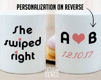 Personalized tinder gift, tinder wedding gift, Tinder mug set, she swiped right mug, He swiped right, personalized gift for her, i swiped
