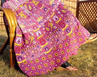 Pretty Purple Bohemian Gypsy Hippie Cotton Wrap skirt or summer dress or Beach Cover up-Fits upto XL