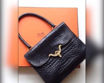 Hermes Paris bag rare 60s vintage black crocodile Vasco / authentic