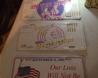 Set of three license plates  contact owner will sell separately