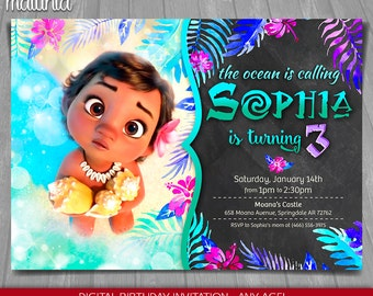 Moana Invitation - Disney Moana Invite - Moana Birthday Printed Invitation - Disney Moana Birthday Party (MOIN07)