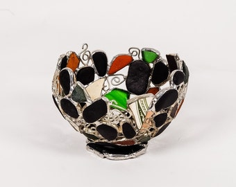 Sea Glass, Coal and Sea Pottery Bowl , Seafoam, Green and Amber, English Beach Glass, Sea Glass Art , Stained glass