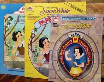 Vintage Snow White Activity Books • 90s Disney Snow White Coloring Book Paper Dolls Book Set of 3 • Vintage Snow White Movie Paper Crafts