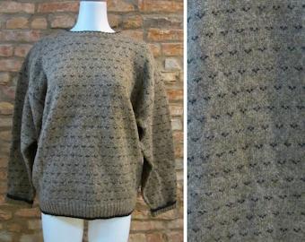 Vintage Sweater • Woolrich Sweater • Woolrich Birdseye Sweater • Large XL Brown Wool Sweater • Vintage Woolrich Crewneck • Winter Sweater