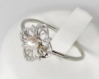 art nouveau ring, 14k white gold pearl ring, antique engagement ring, 14k filigree ring, Edwardian ring, antique pearl ring, octagon ring