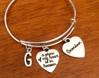 Grandma memorial gift, grandmother sympathy gift, grandmother memorial jewelry, memorial jewellery, loss of grandma bracelet