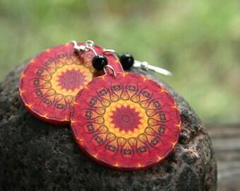 Red mandala earrings, fire earrings, fire mandala earrings, red mandala dangle earrings, christmas earrings, bohemian earrings, boho
