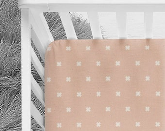 Blush baby crib sheet with cross design, baby girl fitted crib sheet, baby bedding, blush, rose nursery colors bedding, baby sheet, crib bed
