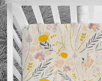 Beautiful floral crib sheet, golden flowers, baby girl bedding, floral, nursery bedding, crib sheets, baby bedding