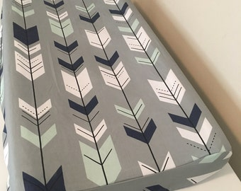 Baby boy gray, white, navy & mint fitted changing pad cover, arrows changing pad cover, boy bedding, tribal baby, boy nursery, baby bedding,