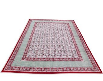 Indian Hand Block Printed Rajasthani Art Work Design Cotton Double Bed sheet size 90x108""
