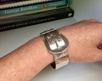 Antique Victorian sterling silver etched buckle bangle/bracelet, Gift, Bridal, Wedding, Keepsake, Heirloom, Love Token, Jewelry, Jewellery