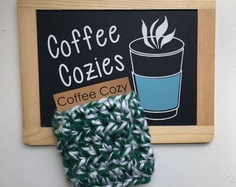 Coffee Cozy | Crochet Coffee Cozy |  Coffee Sleeve - Green and White