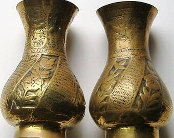 PAIR OF VINTAGE Art deco  brass small vases