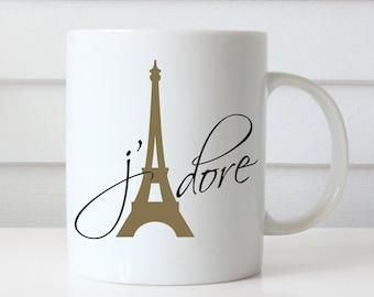 Paris Mug, Valentines Day Gift, Valentines Mug, Valentines Day Coffee Mug, Eiffel Tower, Jadore, Love Coffee Mug, Love Mug Anniversary Gifts