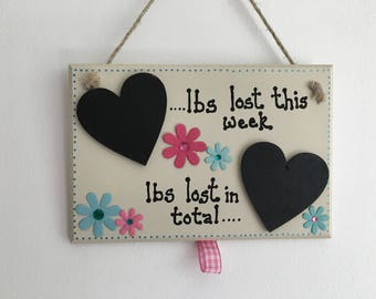 Motivational slimming aid handmade wooden gift plaque