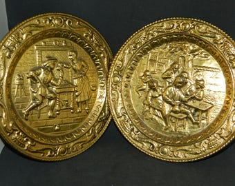 A Set of Old English Pub Scene~Embossed Brass Plates~2 Heavy Embossed Plates Uniquely Detailed~A Pair of Nice Round Hammered Brass Plates~