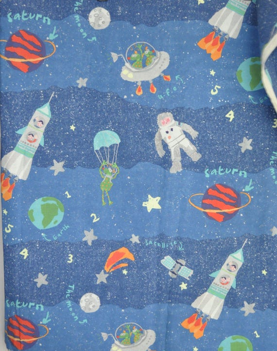 Laura ashley astronaut fabric space rocket 2000 unused for Space themed fleece fabric
