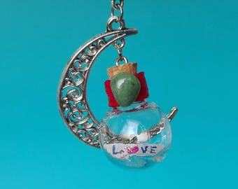 Half moon necklace with bottle and origami boat, love-boat