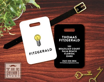 Bright Ideas Personalized Luggage Tag - Personalized Light Bulb Bag Tag - Masculine Plastic ID Tag w/ Leather Strap - Travel Accessory Gift