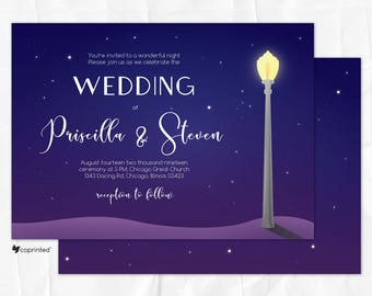 La-La Land Movie Theme Wedding Invitation, Chicago Wedding Invitation, City of Stars Wedding Invitation, Chicago skyline wedding invitation