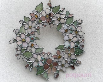 Apple Blossom glass wreath / Tiffanytechnik / wall jewelry, stained glass, stained glass / original handmade / Caboschon