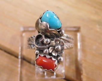 Floral Turquoise and Coral Sterling Silver Ring Size 8