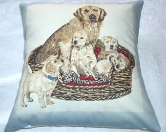 Family of Golden Retrievers sitting in a basket cushion