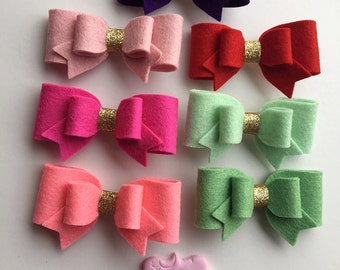 100% Felt and Glitter Bow Hair Clip - Pink bow, Mint Bow, Glitter bow, Felt Bow, Hair Clip, Green Bow, Hair Accessories, Birthday gift