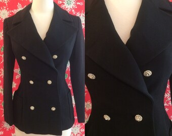 Vintage 1960s Black Wool Knit Double Breast Blazer with Rhinestone Buttons by Junior Accents