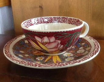 Vintage Vernon Kilns Cup and Saucer - Lei Lani Design by Don Blanding -  Made in USA - 1938 to 1942
