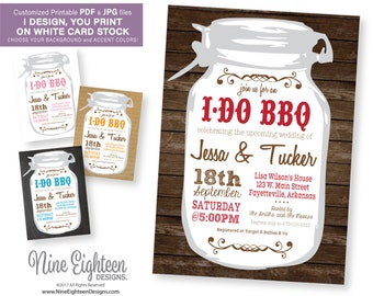 iDoBBQ INVITATION Wedding Shower. Customized Printable PDF & JPG. I design, you print