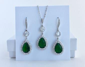 Green Bridal Crystal Set Emerald Cubic Zirconia Set Green Crystal Wedding Jewelry Set Green Bridesmaid Jewelry Set Emerald Wedding Jewelry