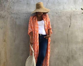 Orange Kimono,Cardigan,comfy,Beach cover up,Bohemian,fasetival,kimono,Oversized kimono, Summer boho jacket , Boho kimono