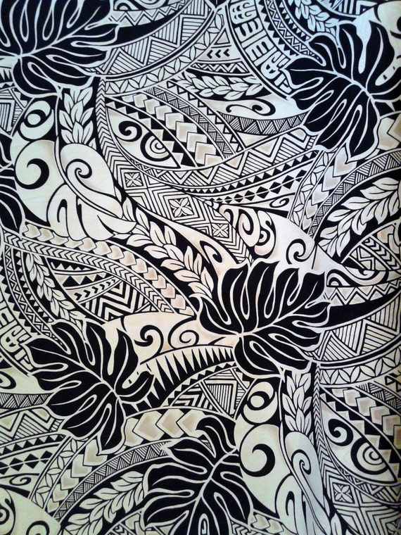 Black And Tan Polynesian Tattoo Fabric Hawaiian Fabric