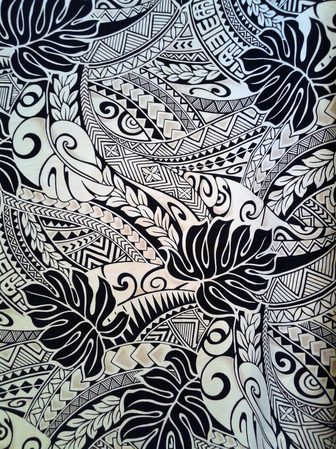 Black and Tan Polynesian Tattoo Fabric, Hawaiian Fabric ...
