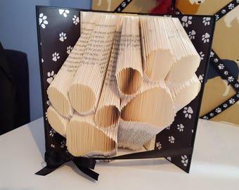 Paw prints Folded Book - handmade gift