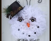 Snowman, Winter, Christmas Wreath by A Noble Touch