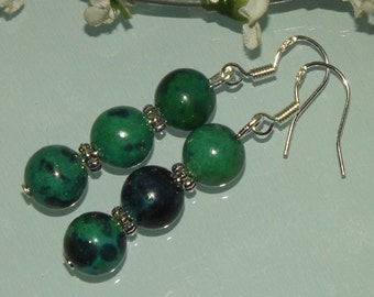 Gemstone earrings green azurite, Chrysocolla stones 925 Silver