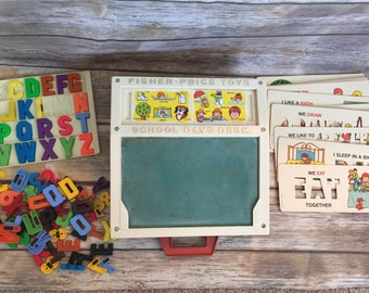 Fisher Price® School Days Desk with Letters, Numbers, Chalkboard FREE SHIPPING!  Vintage 1970s Toy Little People