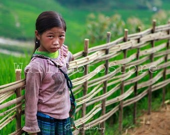 Travel Photography, Vietnamese Black Hmong Girl. Vietnam Photography, Asian Girl, Fine Art Photography, Print Photography, Wall Art