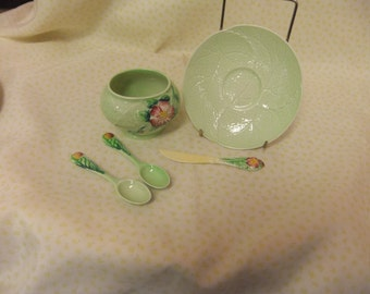 A Vintage Collection of Carlton Ware, Dish, Saucer and Two Spoons and a Decorative Knife